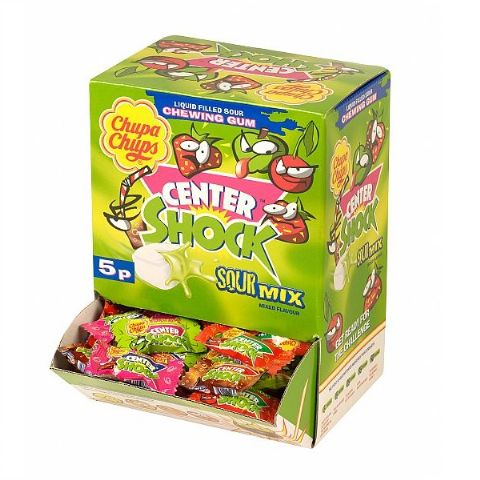 200 x Sour Mix Centre Shock Chupa Chups Chewing Bubblegum Candy Sweets Wholesale Box